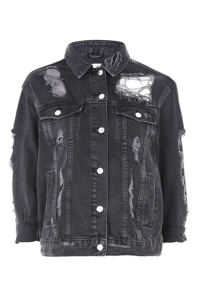 Topshop Moto Extreme Rip Denim Jacket in Washed Black