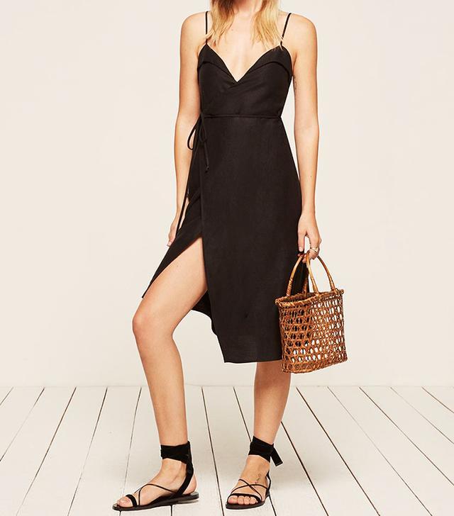 Reformation black midi dress