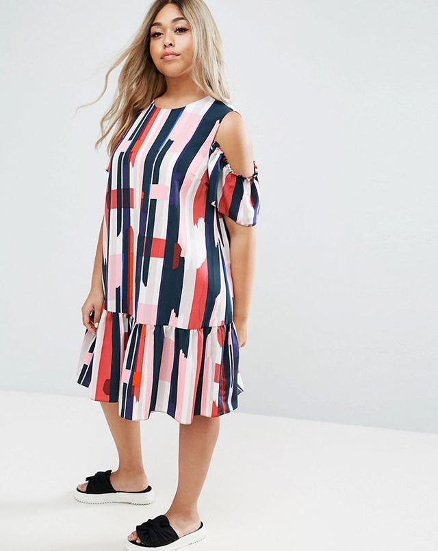ASOS Curve Cold Shoulder Stripe Dress