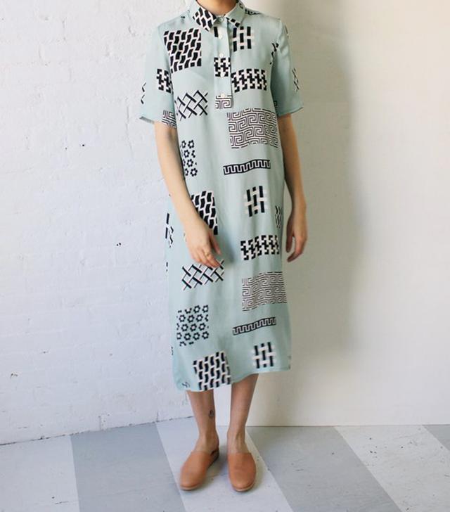 Dusen Dusen Cupro Tile Long Collar Dress
