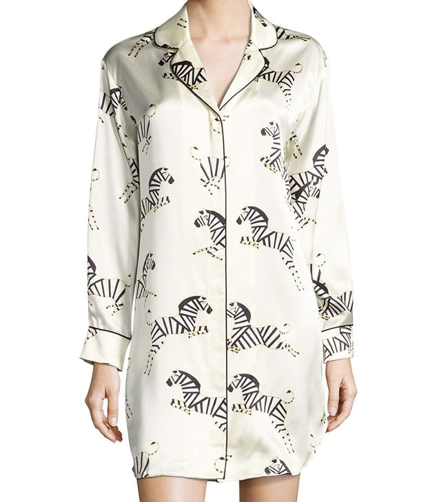 Olivia Von Halle Poppy Zebra-Print Silk Sleepshirt