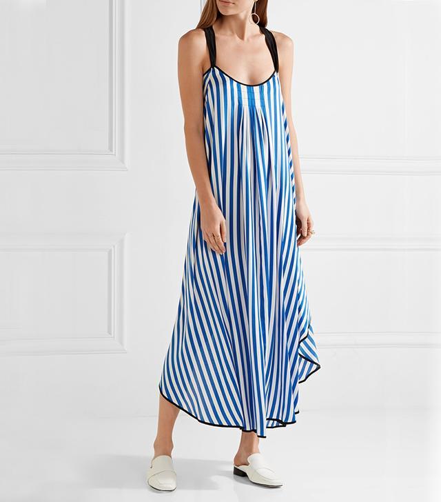By Malene Birger Shalana Asymmetric Striped Satin Maxi Dress