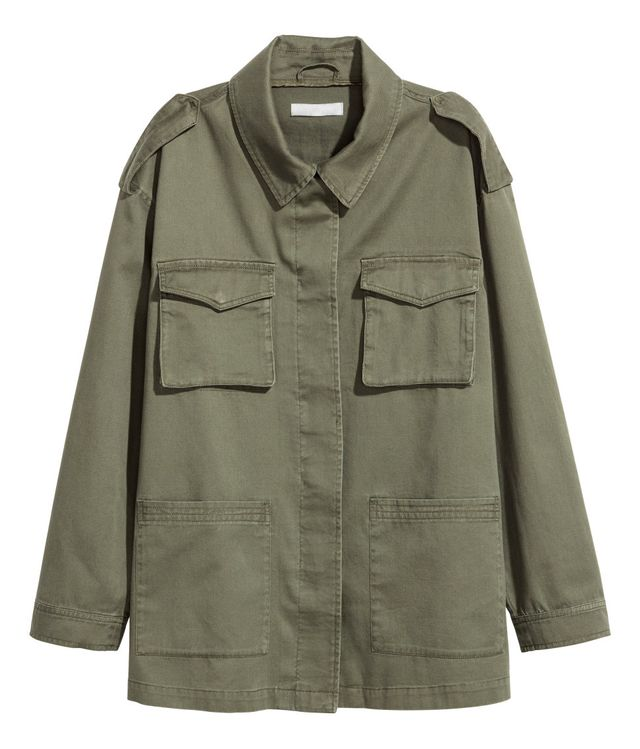 army green jacket - H&M Cargo Jacket