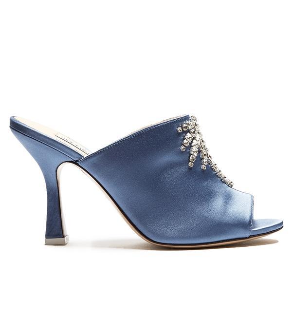 Attico Pamela Crystal-Embellished Satin Mules