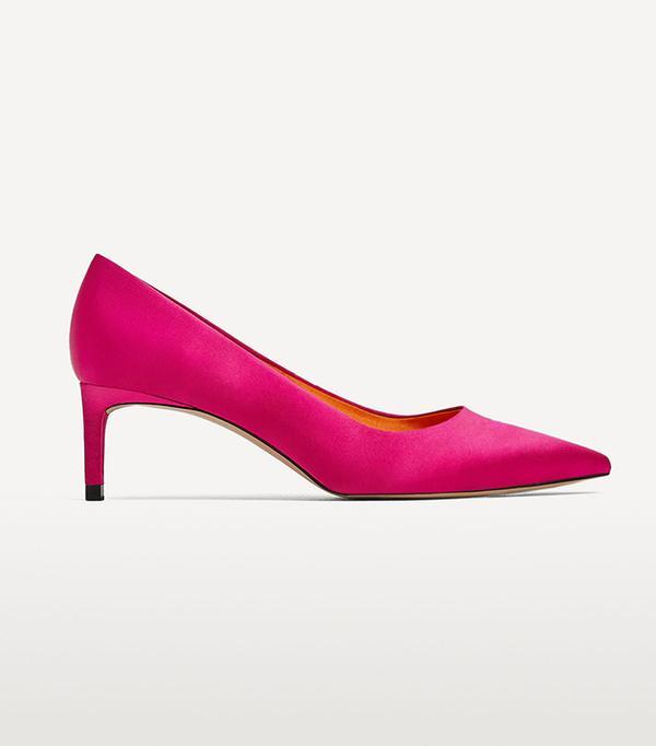 Zara Mid Heel Satin Shoes