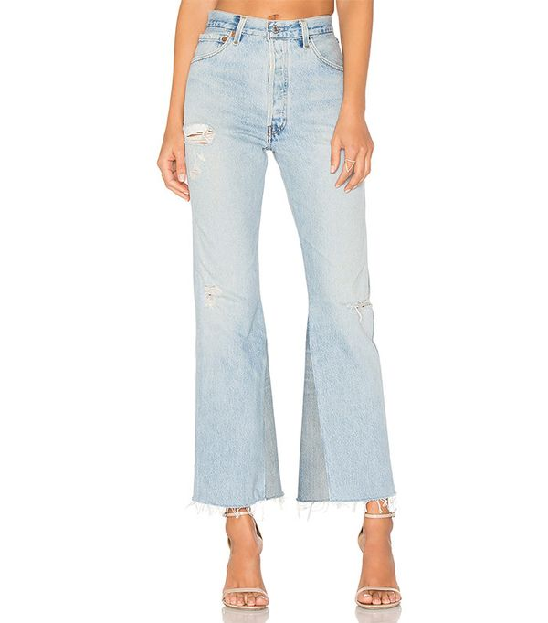 high-rise crop flare jeans