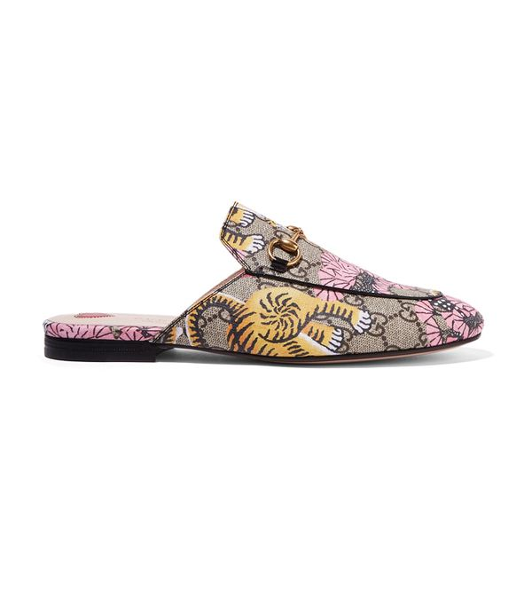 How to shop on ebay: Gucci Princetown Printed Coated-Canvas Slippers