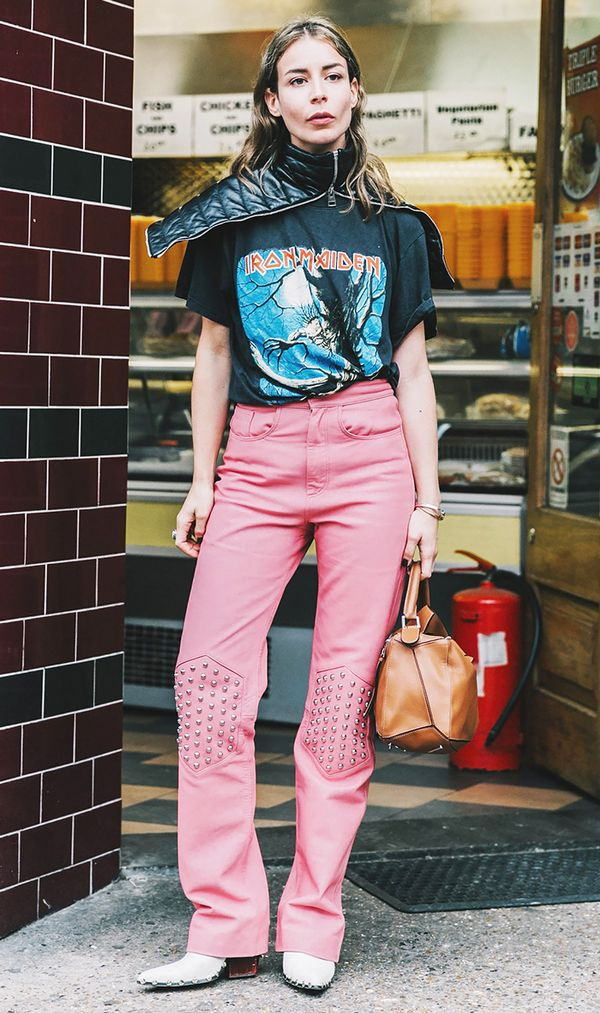 Take something ultra-feminine like pink pants, and make them feel cool with a vintage concert T-shirt.