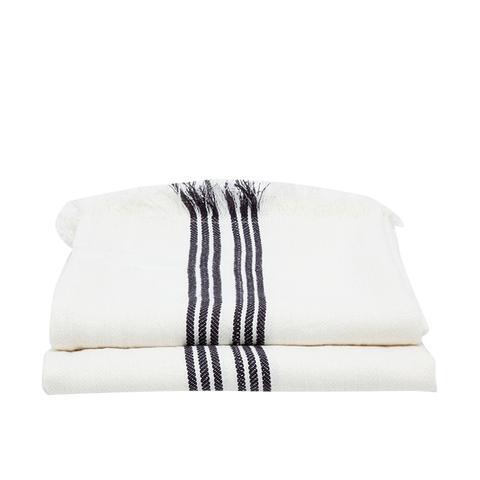 Black and White Linen Blanket