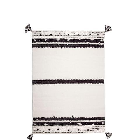Black and White Pompom Rug