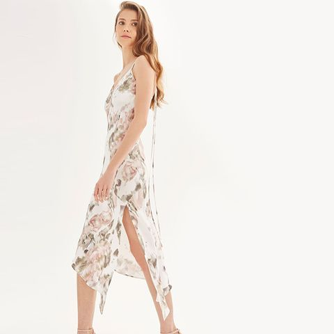 Printed Asymmetric Hem Slip Dress