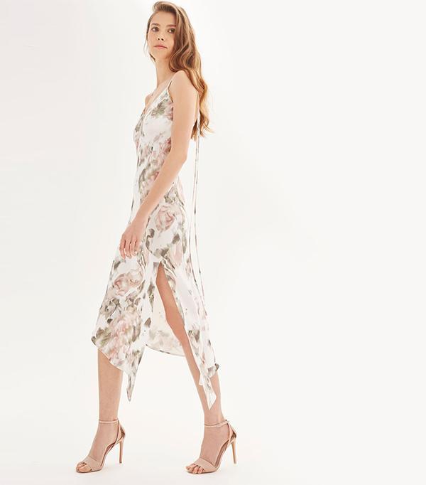 cool bridesmaid dresses - Topshop Printed Asymmetric Hem Slip Dress