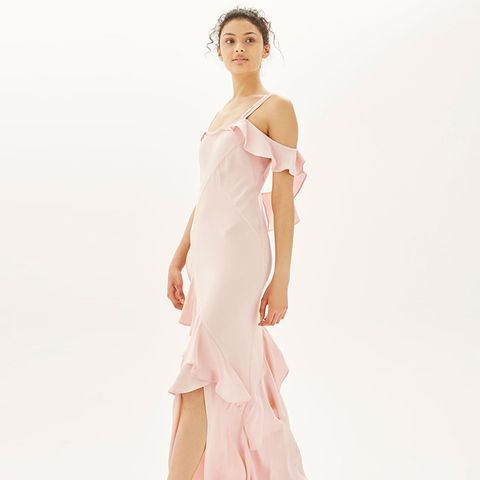Soft Ruffle Cold Shoulder Maxi Dress