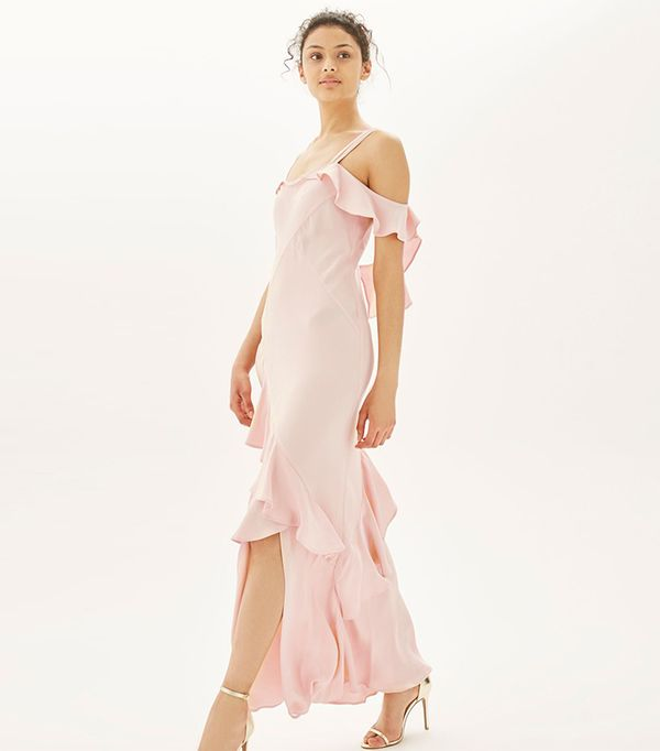 cool bridesmaid dresses - Toyshop Soft Ruffle Cold Shoulder Maxi Dress