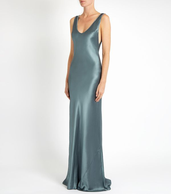 best bridesmaid dresses - Galvan Scoop-neck sleeveless silk-satin gown