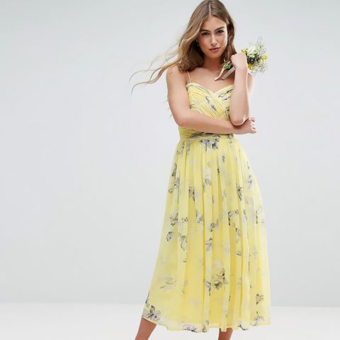 Rouched Midi Dress in Sunshine Floral Print