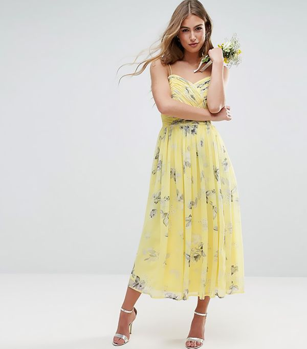 cool bridesmaid dresses - ASOS Wedding  Rouched Midi Dress in Sunshine Floral Print