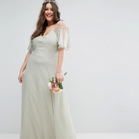 Lace Applique Cape Maxi Dress