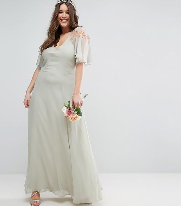 best bridesmaid dresses - Asos Wedding Lace Applique Cape Maxi Dress