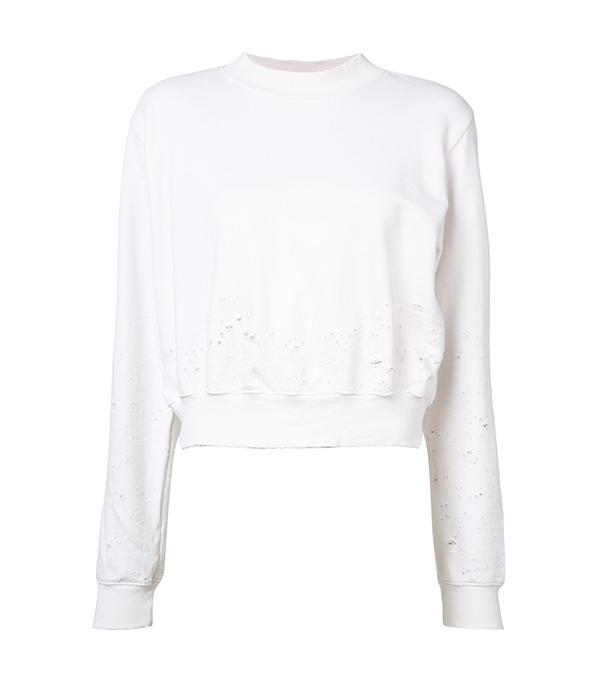 best athleisure brands - Cotton Citizen Distressed Cropped Sweater