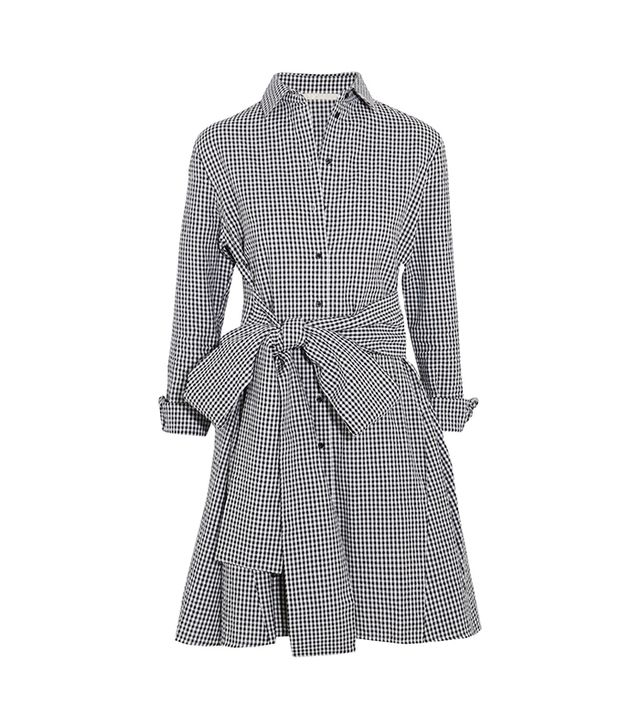 Maje Tie-Front Gingham Cotton Mini Dress