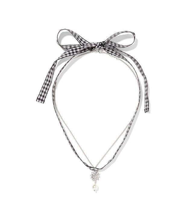 Miu Miu Gingham Cotton, Silver-Tone, Crystal and Faux Pearl Necklace