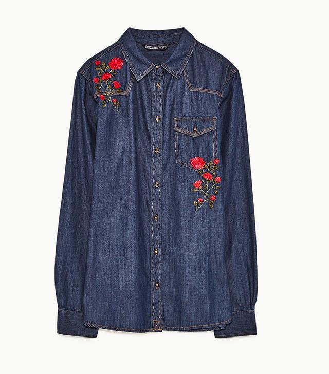 Zara Embroidered Denim Shirt