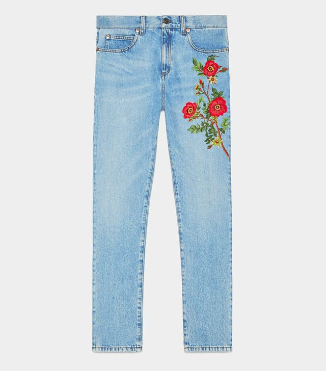Gucci embroidered red jeans