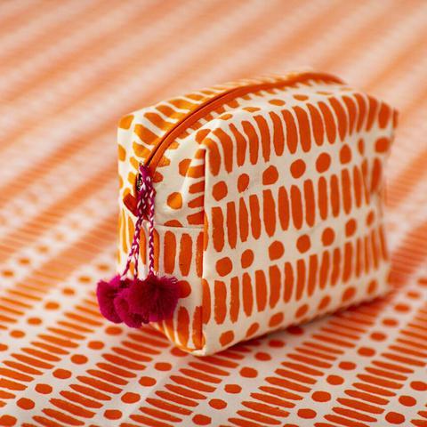 Block Printed Cosmetics Bag