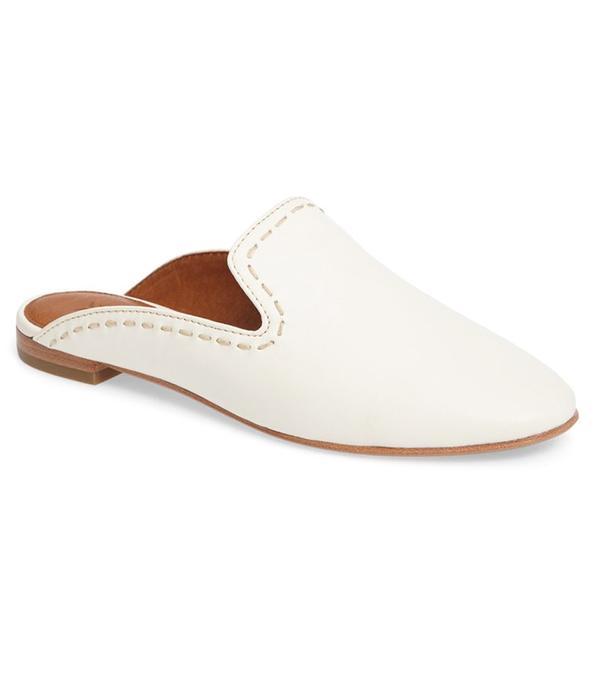 best white flats- frye gwen mules