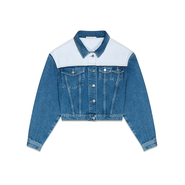 Maje Valda Two-Tone Denim Jacket