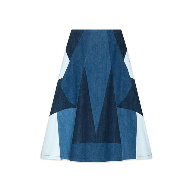 Maje Jabla Denim Flared Skirt