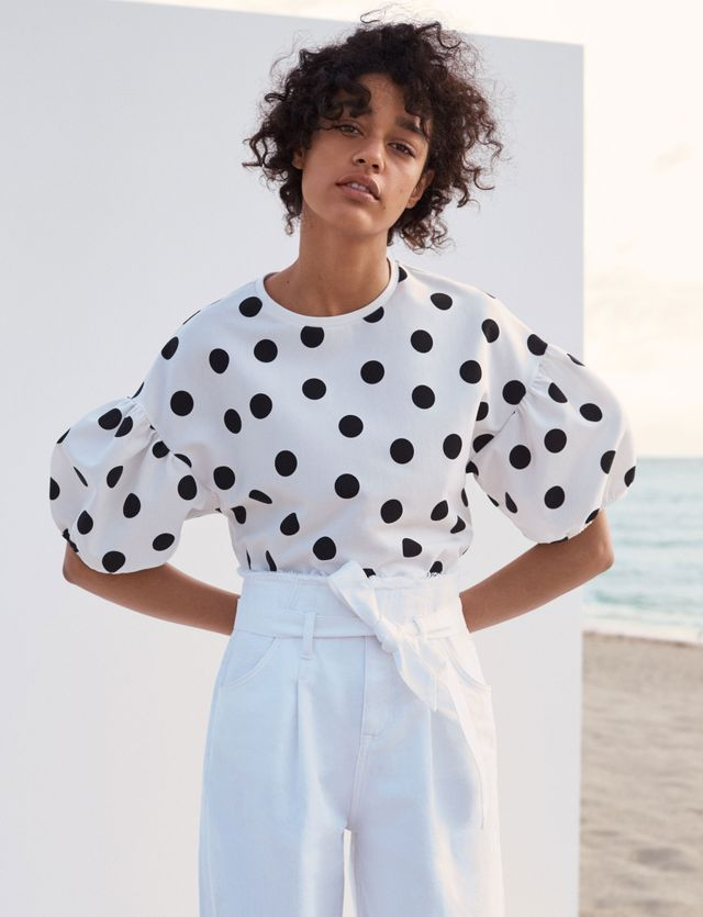 Zara Polka Dot T-Shirt With Puffy Sleeves