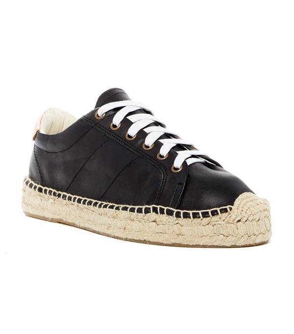 best black leather sneakers- soludos Platform Tennis Sneakers