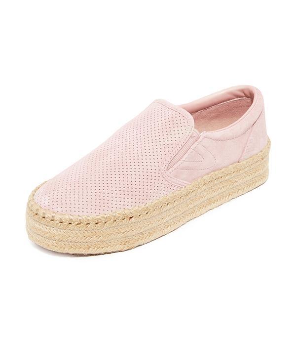 best pink sneakers- tretorn Emilia Platform Espadrille Slip On Sneakers