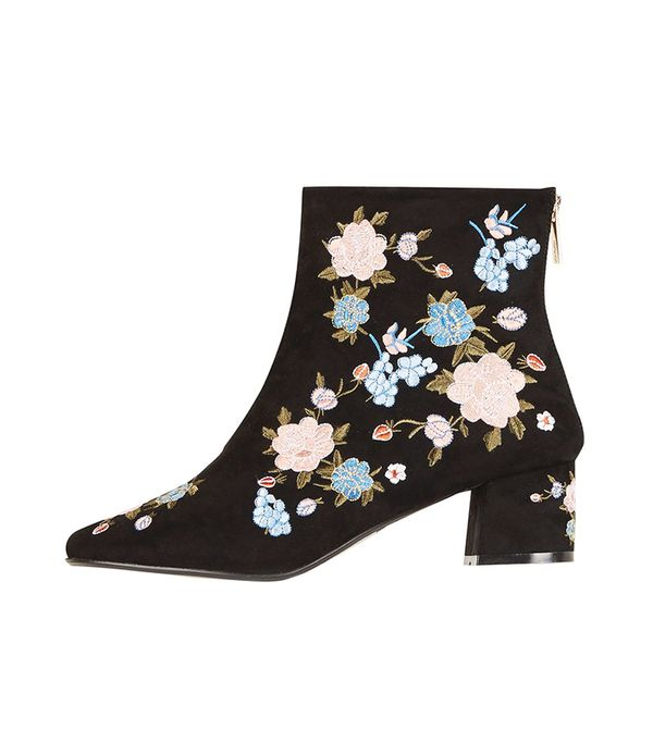 best white jeans - Topshop Blosson Floral Ankle Boots
