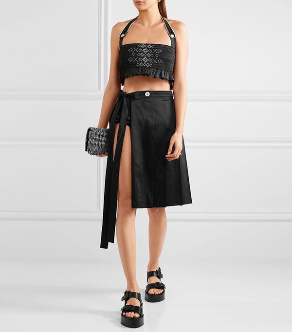 matching crop top and skirt - Miu Miu Cropped Top