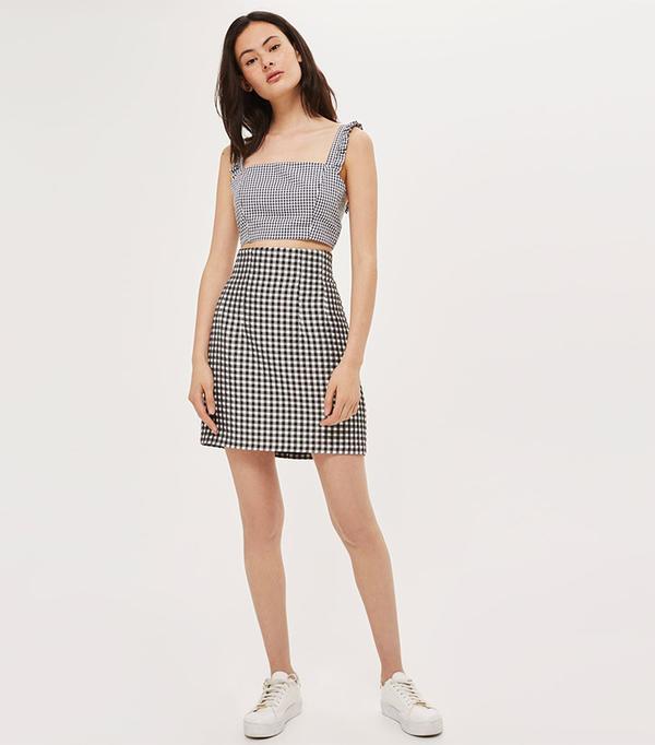 matching crop top and skirt - Topshop Gingham Crop Top