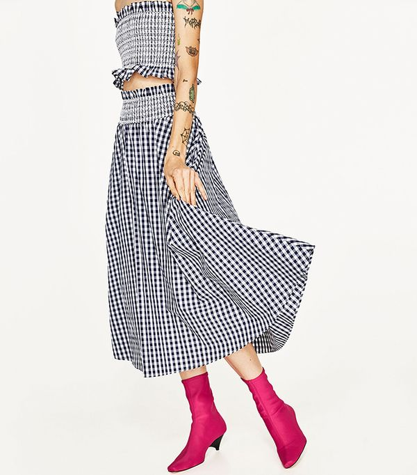 matching crop top and skirt - Zara Gingham Skirt and Top