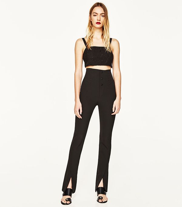 crop top outfit - Zara Lace Cropped Top
