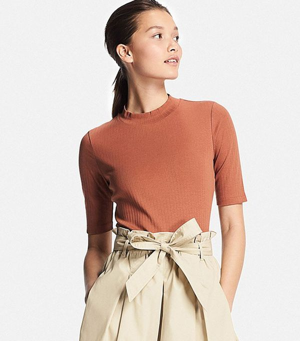 bold color - Uniqlo Ribbed High Neck T-Shirt