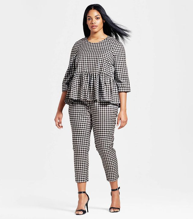 Victoria Beckham for Target Plus Gingham Twill Peplum Blouse and Twill Pants