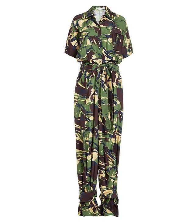 Off White Camouflage Silk Jumpsuit