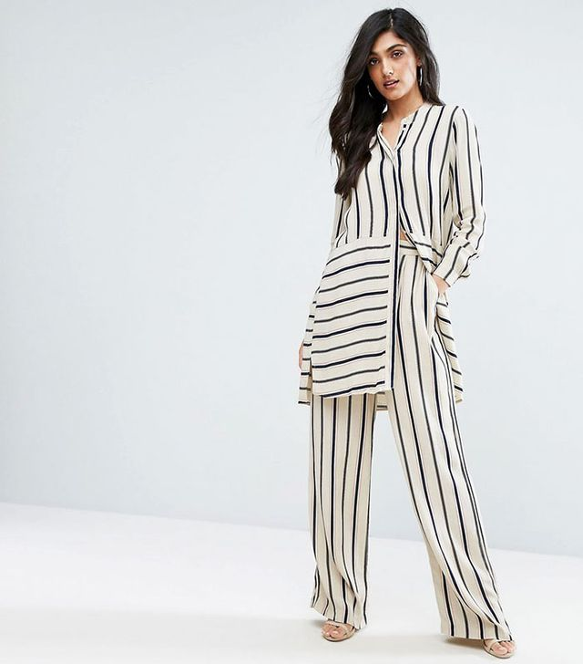 Y.A.S. Tall Stripe Longline Shirt and Wide-Leg Pant Co-Ord