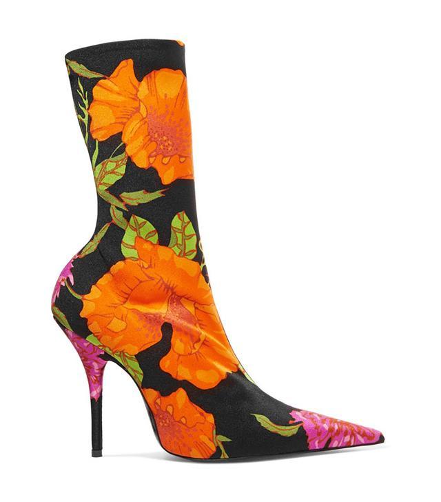 Balenciaga Floral-Print Spandex Ankle Boots
