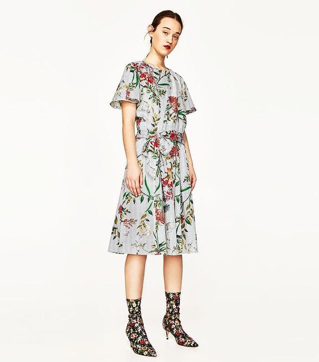 Zara Floral Print Top and Midi Skirt