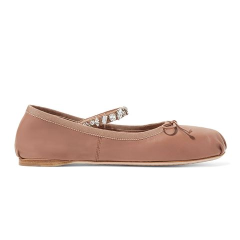Crystal-Embellished Leather Ballet Flats