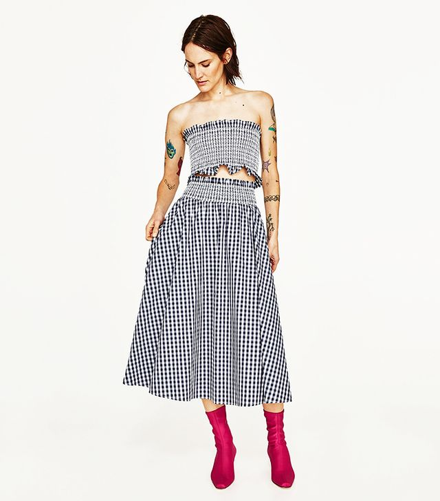 Zara Gingham Check Skirt and Top