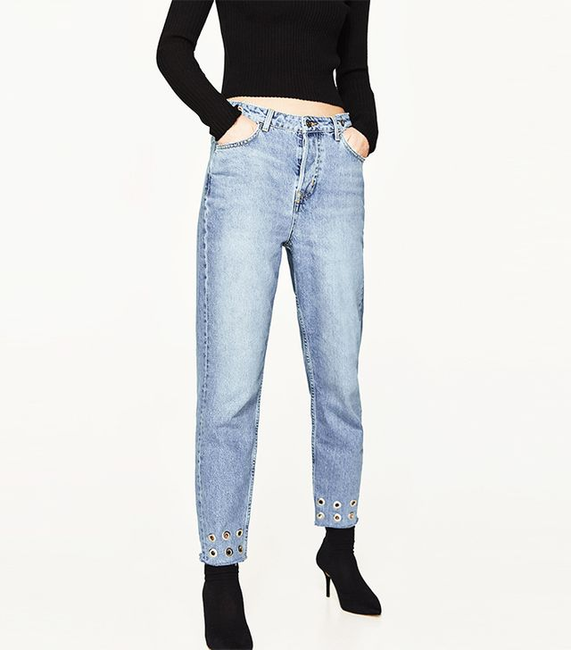 Zara Mom Fit Jeans With Metallic Details