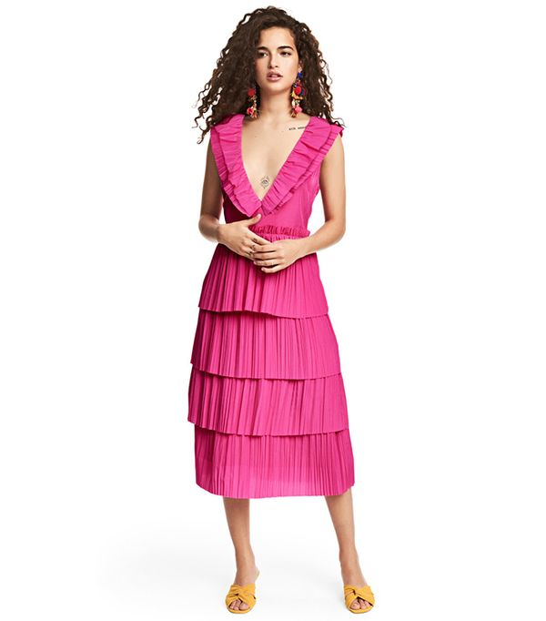 H&M Pleated Tiered Dress